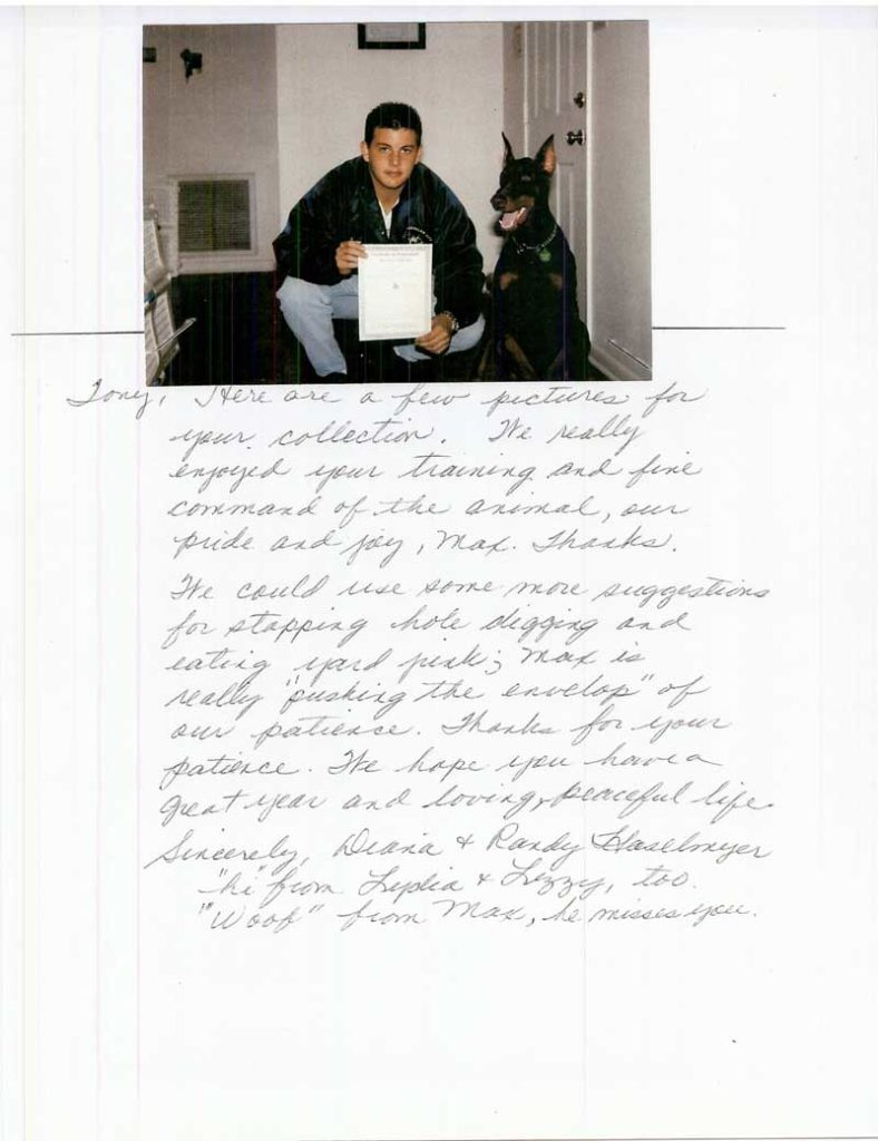 """This letter is a note of  """"thanks"""" to Tony White at All American for the great Job he has done with our dog Sadie over the last several months Thank you again,"""