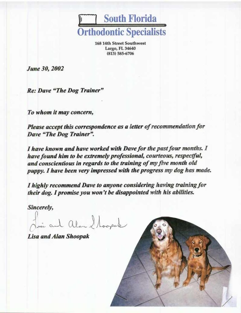 """Please accept this correspondence as a letter of recommendation for Dave """" The Dog Trainer"""" I highly recommend Dave to anyone considering having training for their dog. I promise you won't be disappointed with his abilities"""