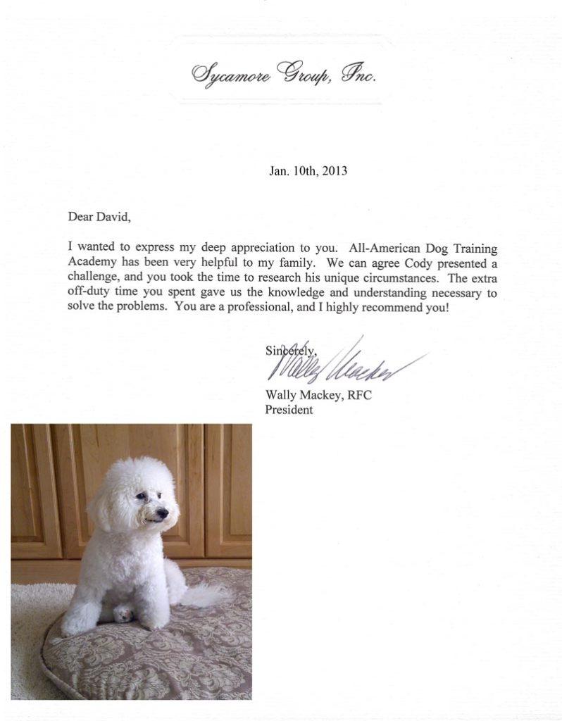 I wanted to express my deep appreciation to you.  All American Dog Training has been very helpful to my family. W. Mackey